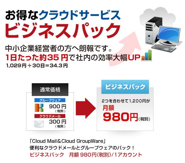 ビジネスパック1029円(税込)